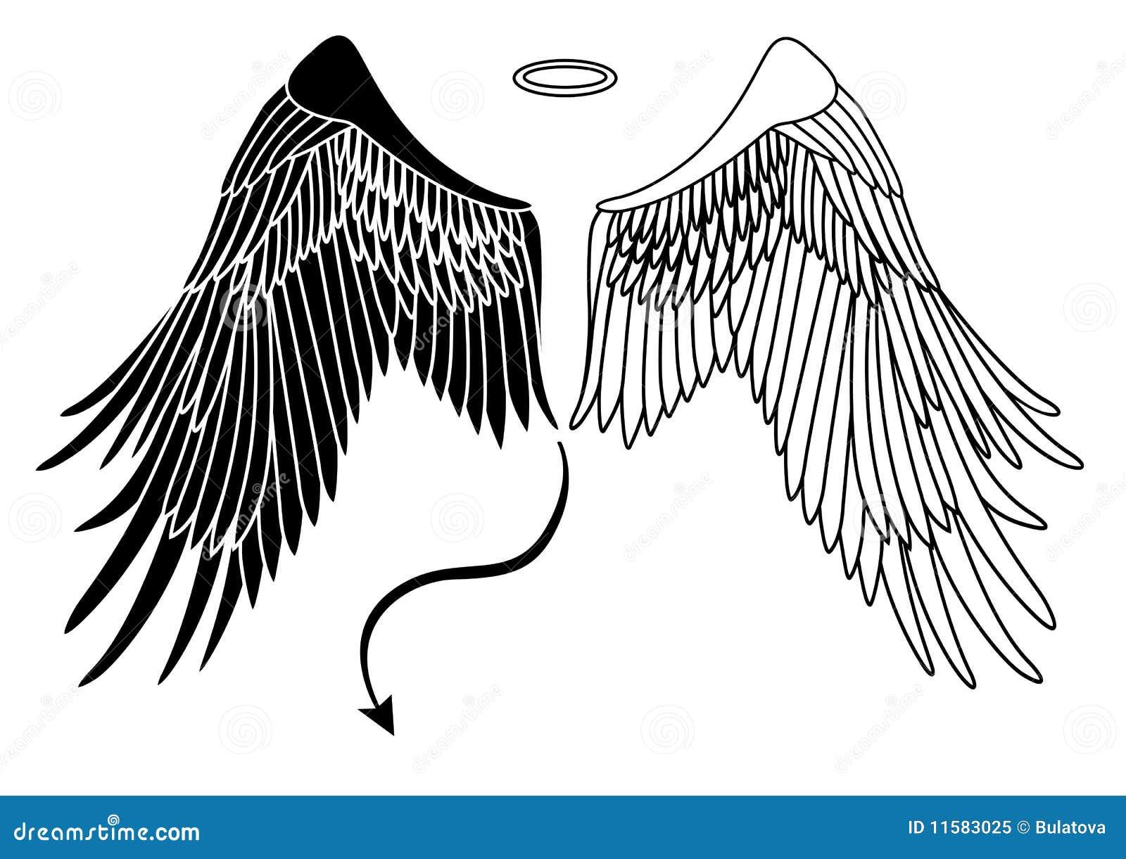Ange et ailes de diable illustration de vecteur - Dessin ange demon ...