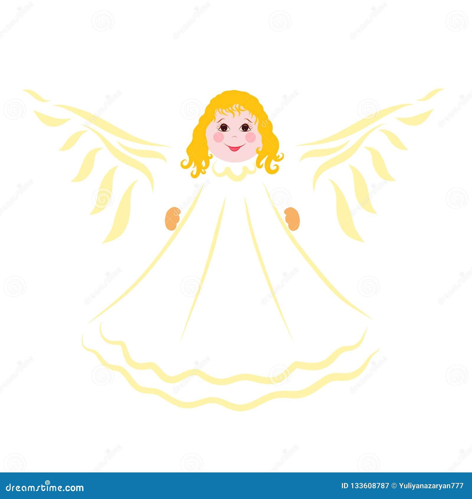 Ange gai avec des ailes, modèle jaune avec le visage