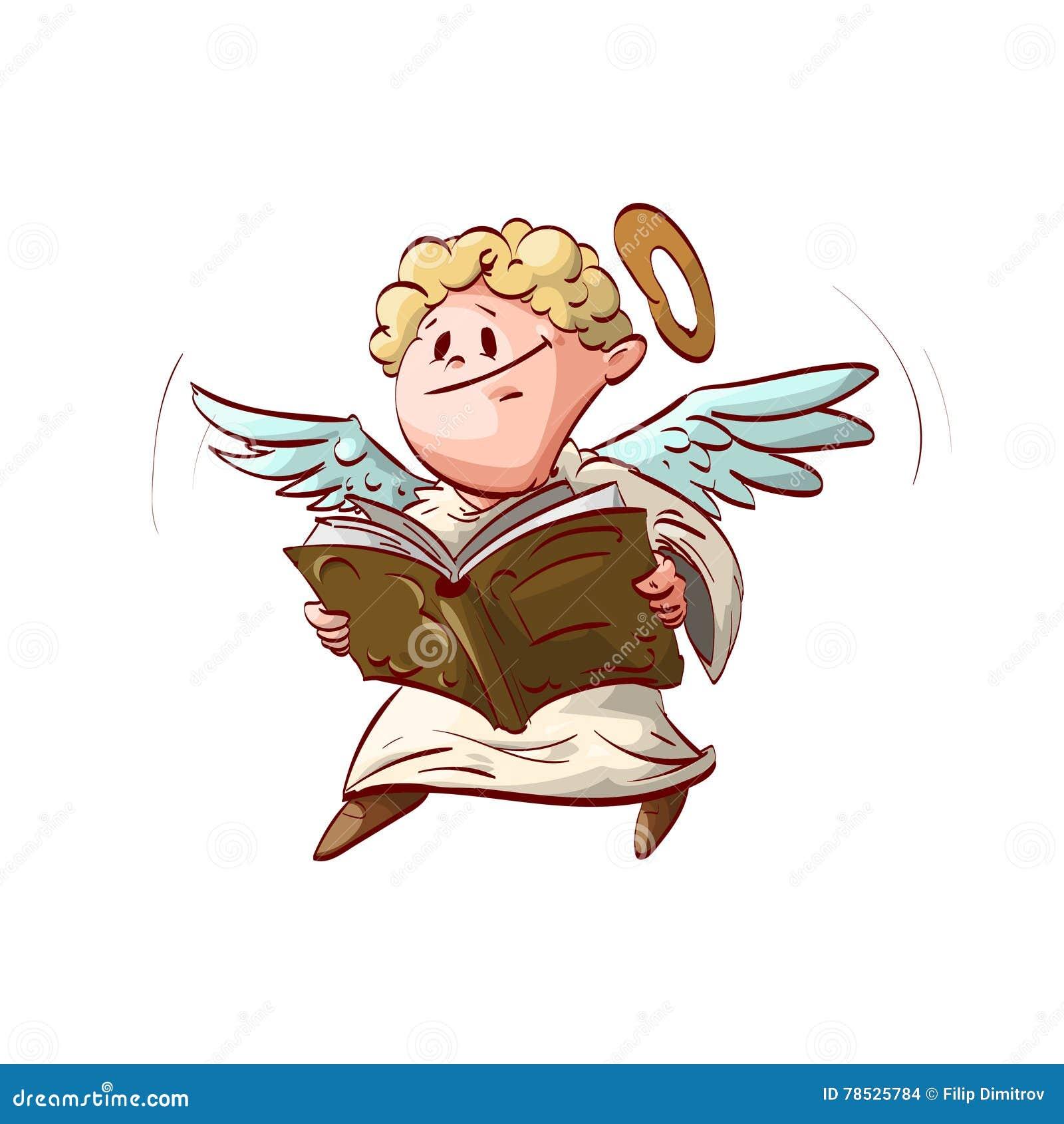 Ange mignon de bande dessinée, tenant un livre