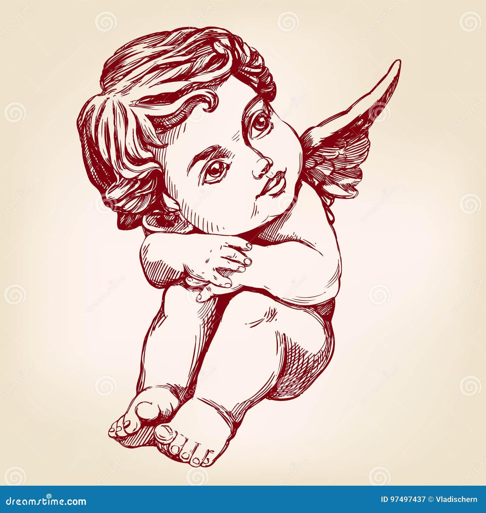 Dessin Ange Realiste ange ou cupidon, croquis réaliste de petite de bébé de carte