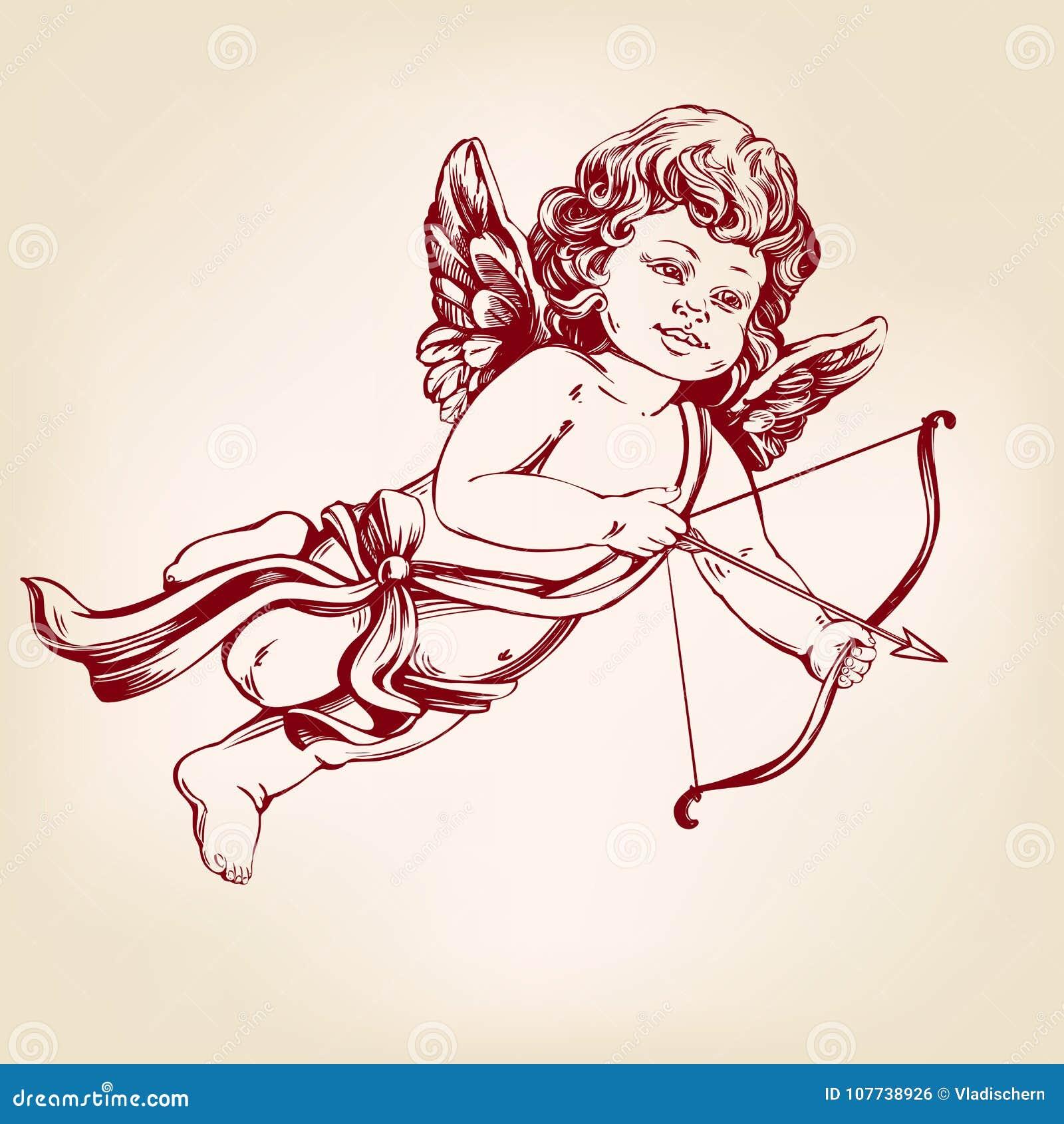 Dessin Ange Realiste ange, petit bébé le cupidon tire un arc avec une flèche