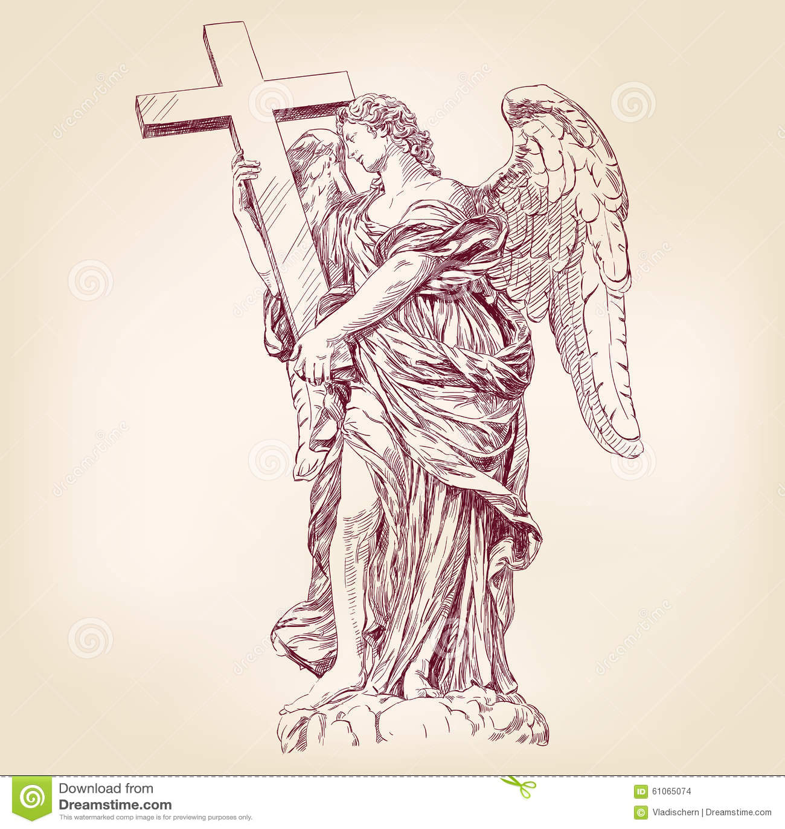 Dessin Ange Realiste ange tenant un vecteur tiré par la main croisé illustration