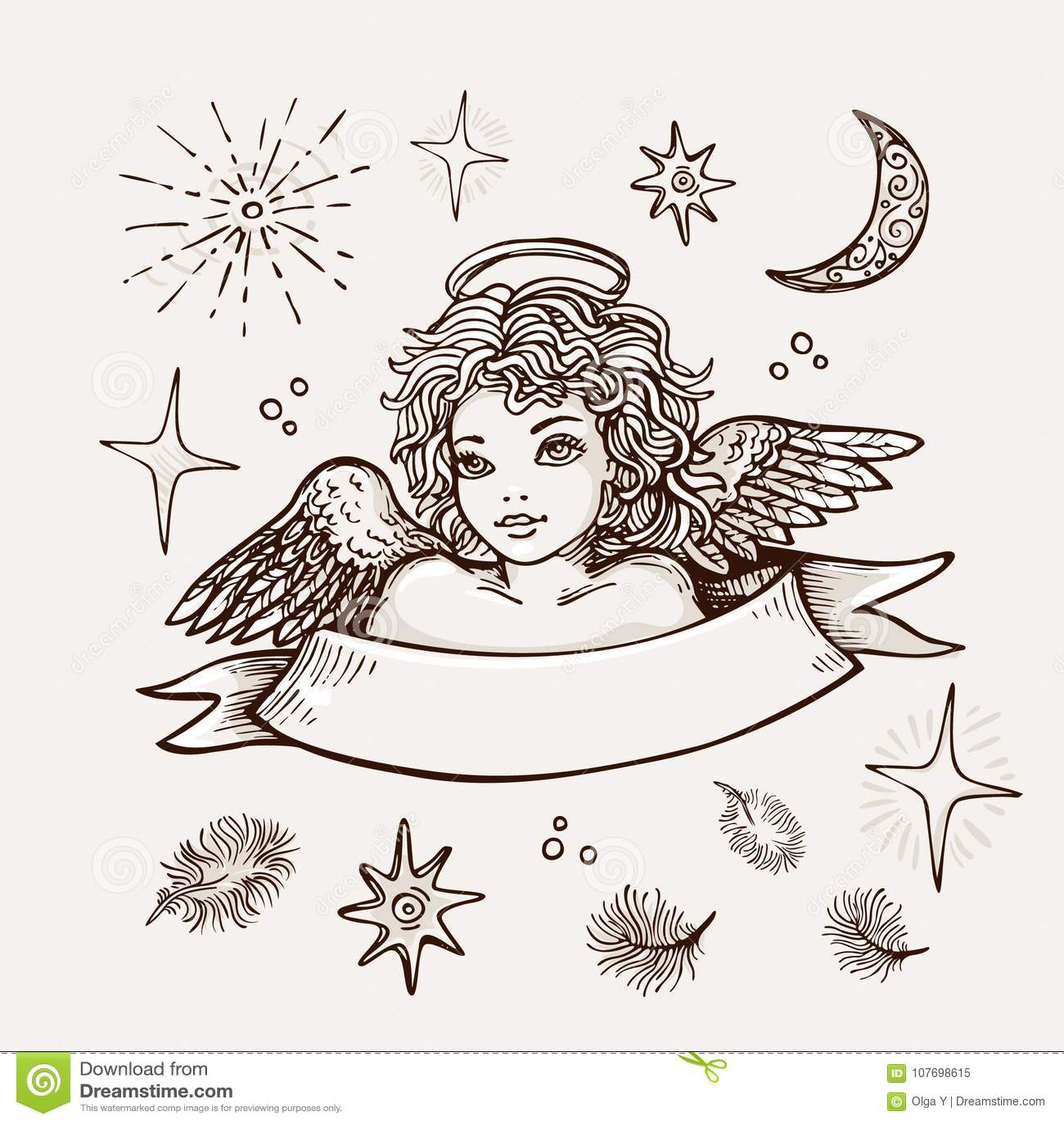 Dessin Ange Realiste ange tiré par la main, symbole religieux de croquis réaliste