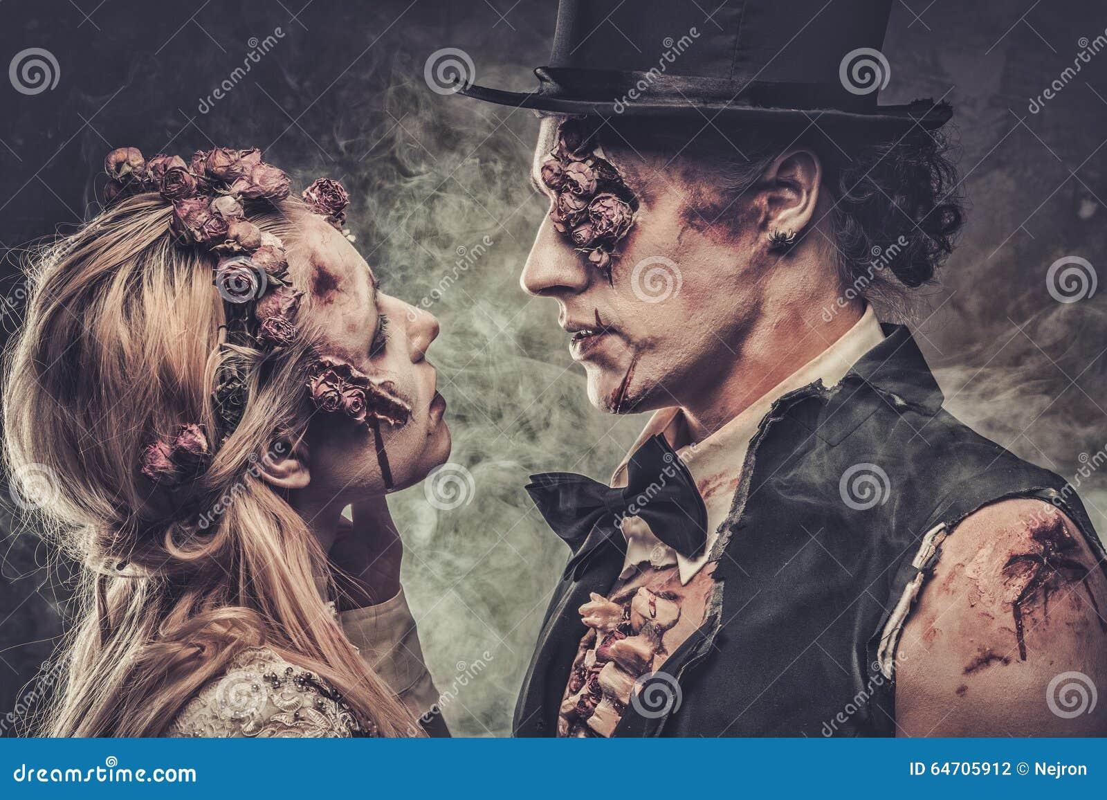 Angekleidet in der Hochzeit kleidet romantischen Zombie