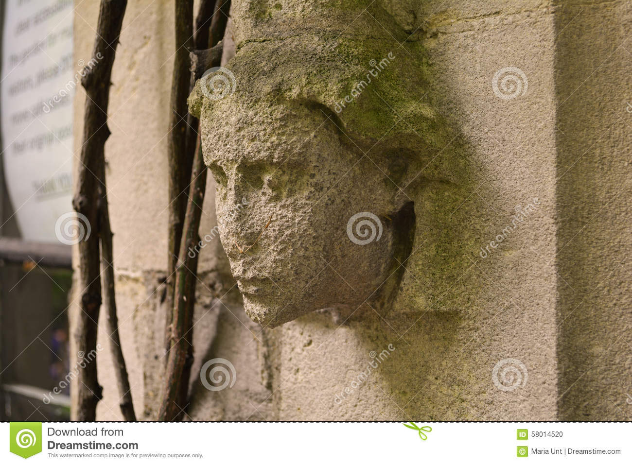 Angel\'s Head Decoration On The Old Wall Of The Church, The Garden ...