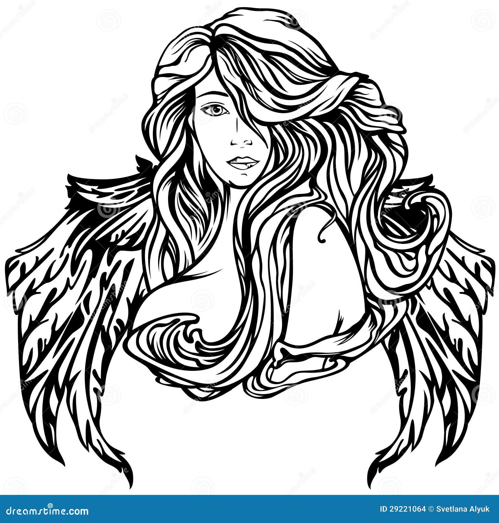 angel stock vector image of hair female element