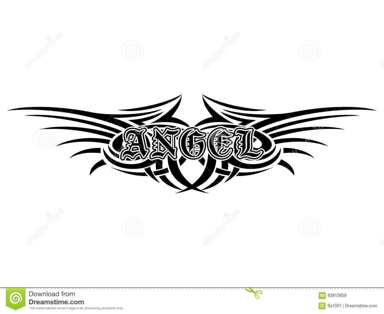 c762d134b1de2 Abstract vector illustration black and white tribal wings and inscription  angel in the Gothic style. Design for tattoo or print t-shirt .