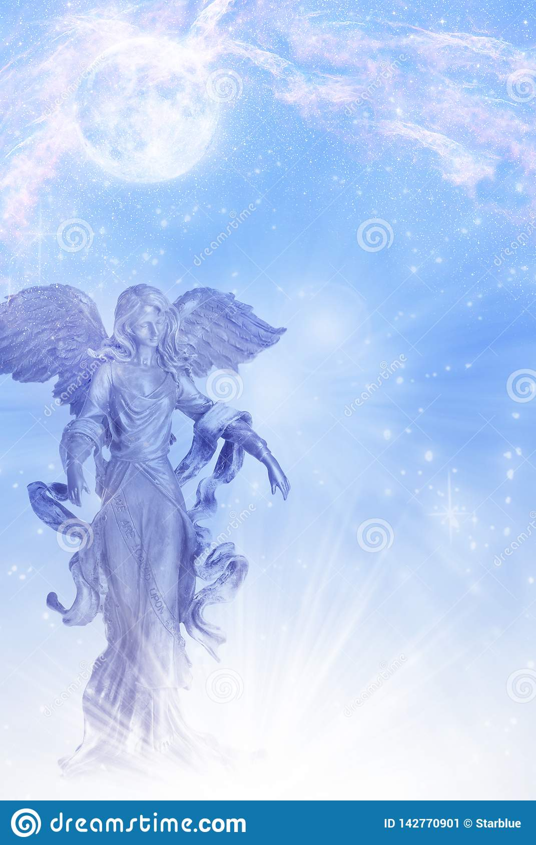 Angel archangel of Moon Luna with stars over blue backround