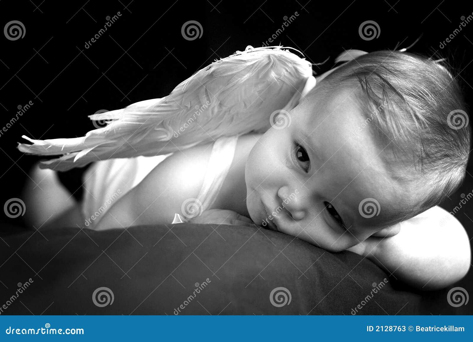 Angel Baby Stock Image Image Of Beautiful Heaven Contemplative 2128763