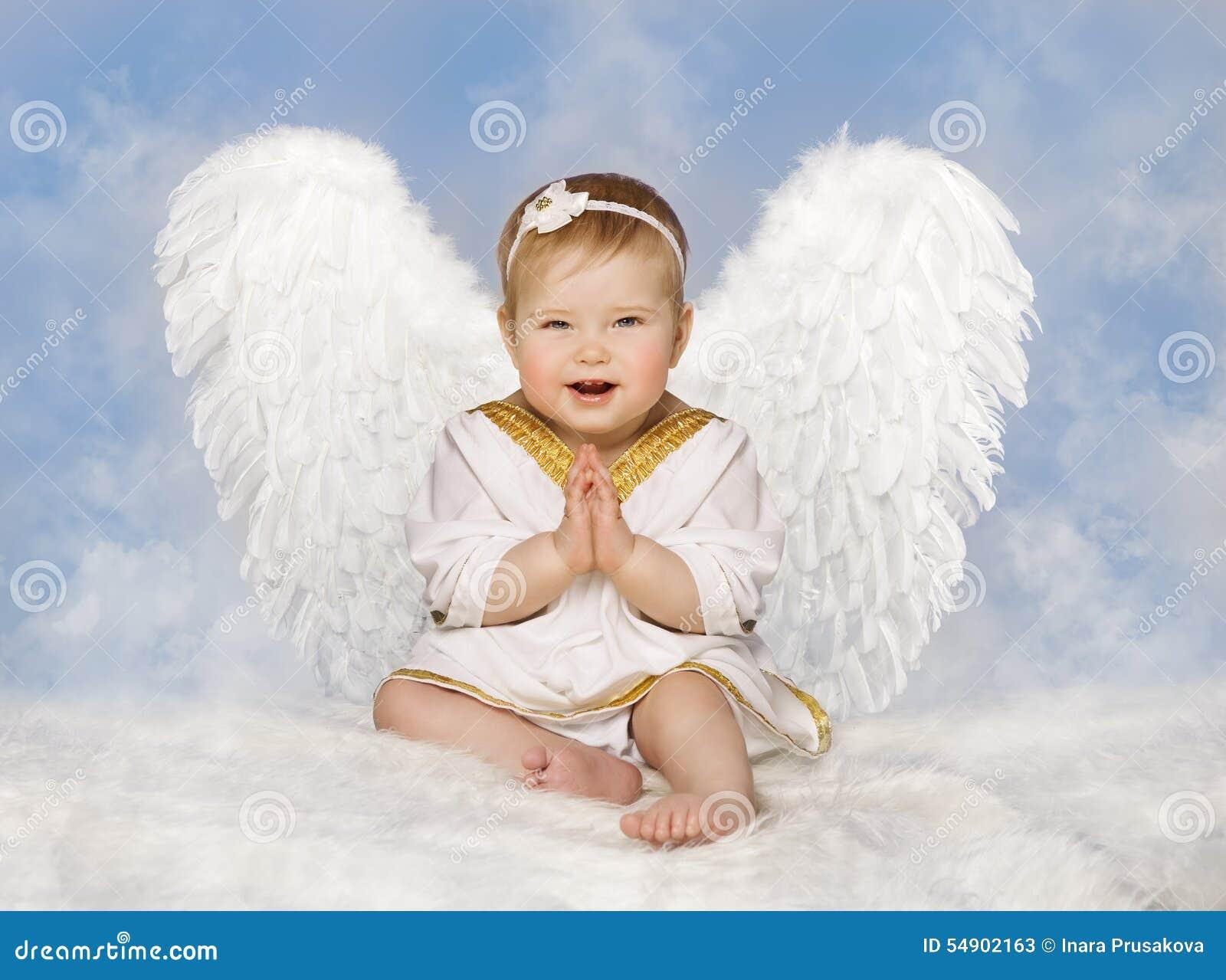 Angel Baby Wings, Angelic Cupid Toddler Kid Clasped-Gevouwen Handen