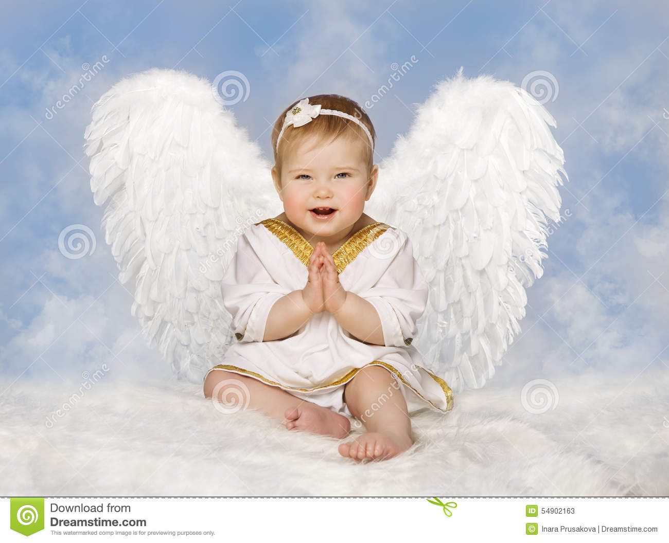Angel Baby Wings Angelic Cupid Toddler Kid Clasped Hands Folded New Born Child Sitting