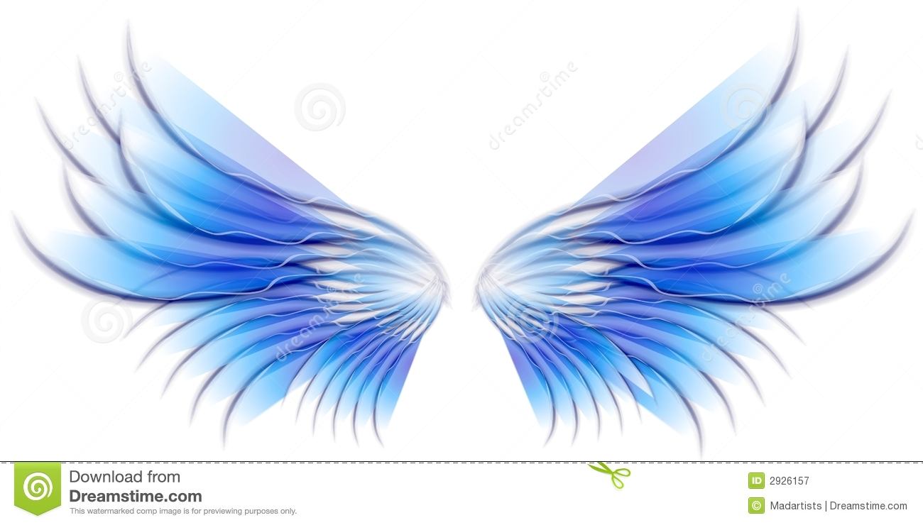clip art illustration of isolated fairy, angel or bird wings in blue ...