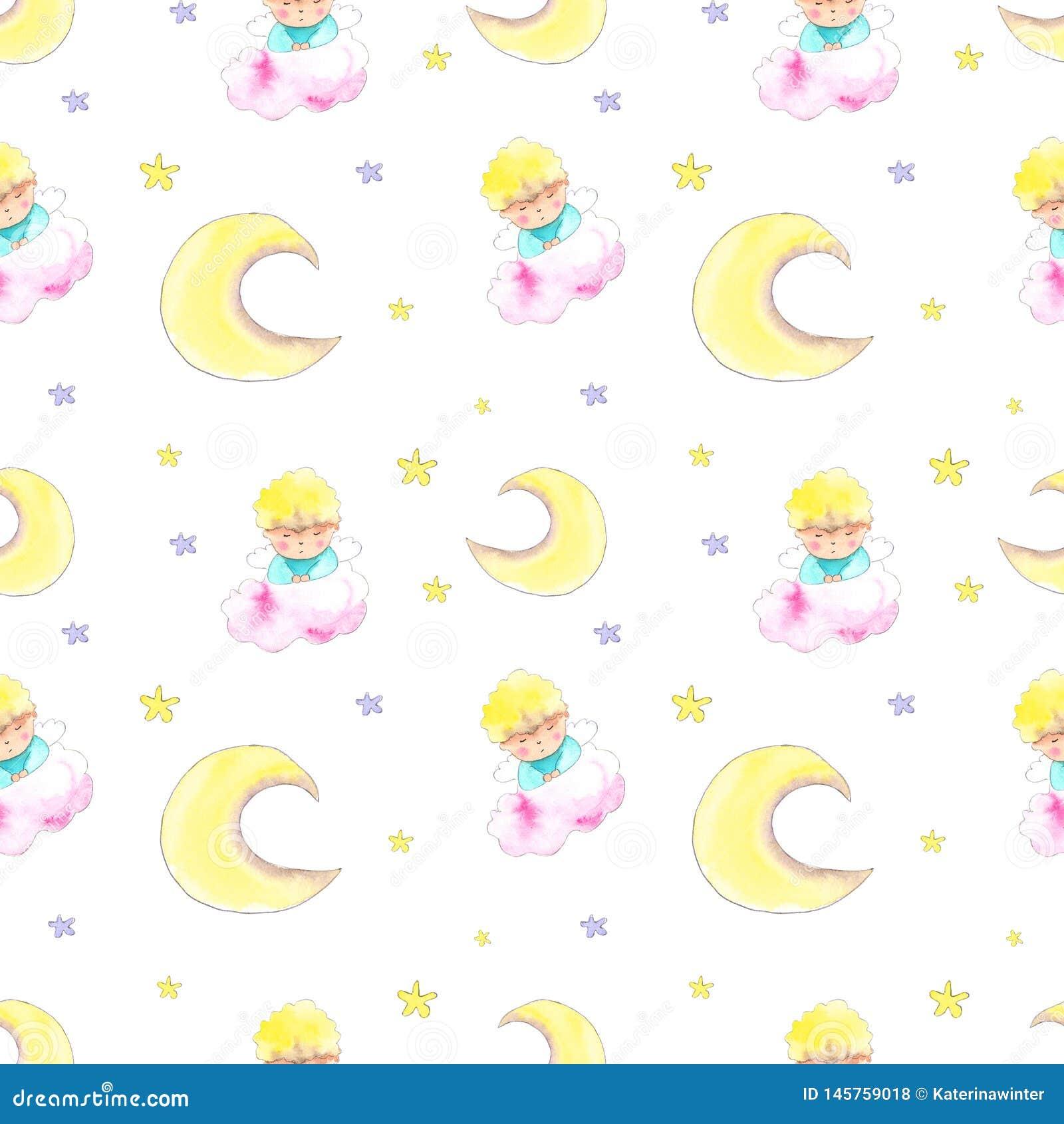 Angel boy seamless pattern