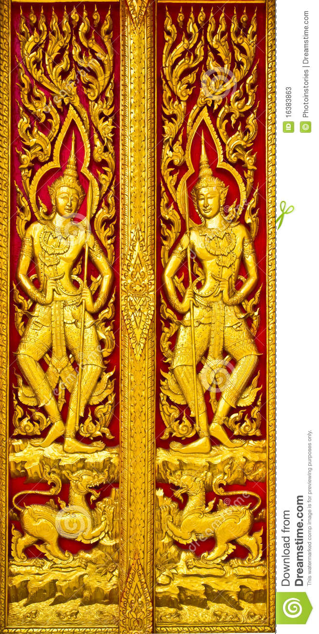 Angel carvings door thai church stock photos image