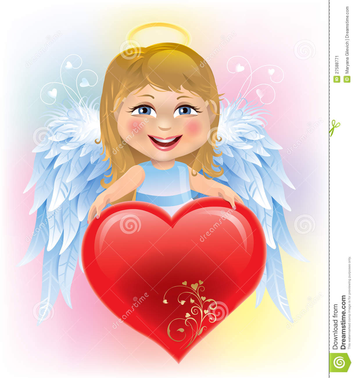 Angel child and Valentine s Day heart