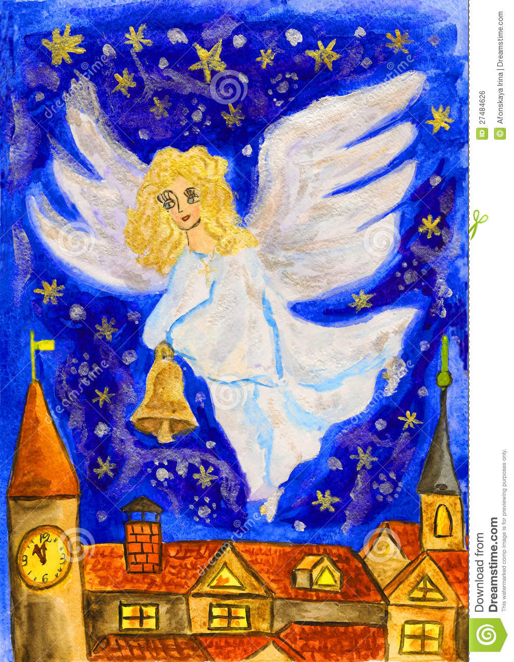 Angel With Christmas Bell, Painting Royalty Free Stock Image - Image ...
