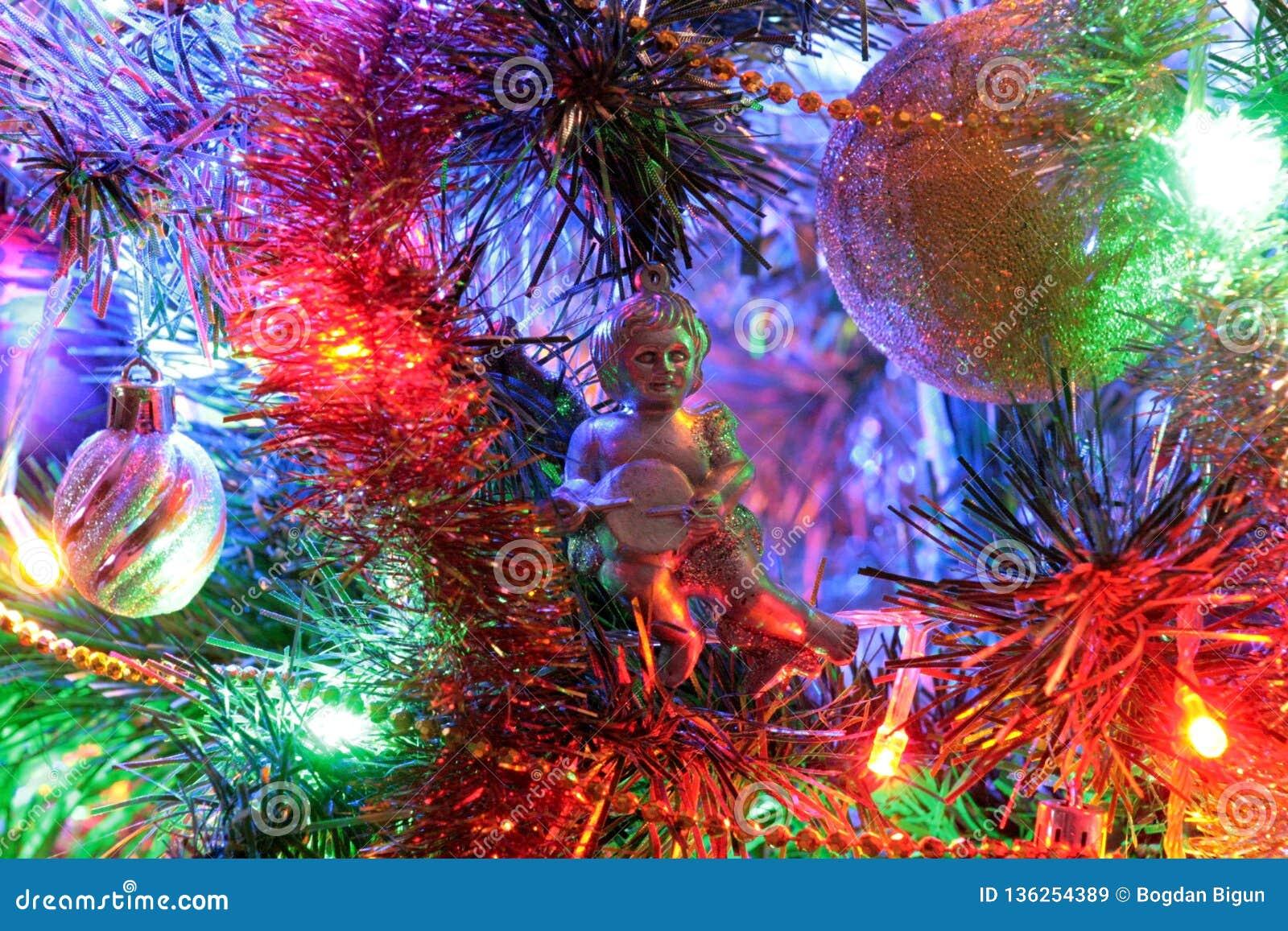 Angel, Christmas decoration and beautiful illumination.