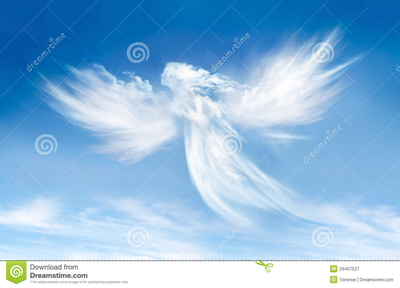 Angel in the clouds. On blue sky royalty free stock photography