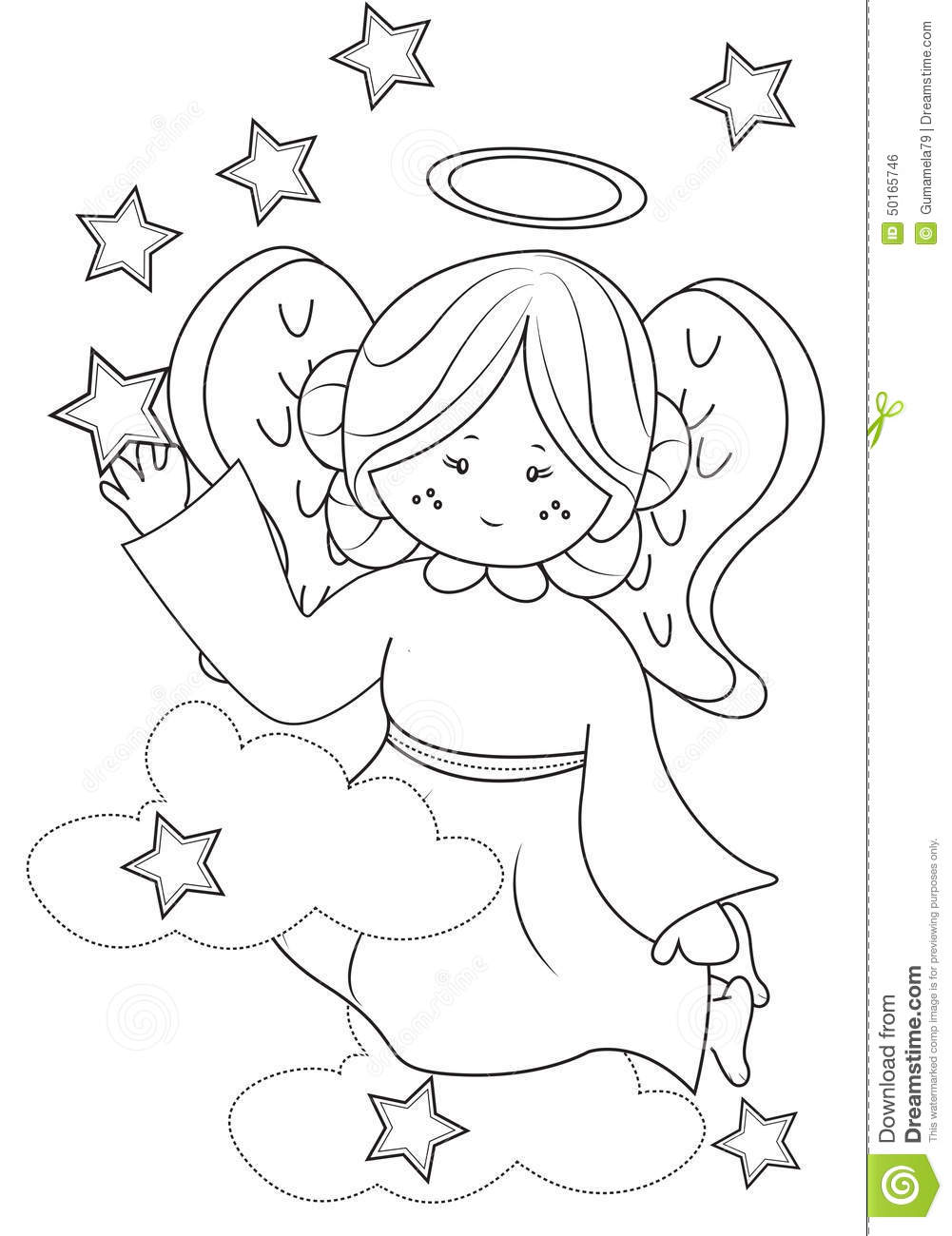 angel coloring page stock illustration image 50165746