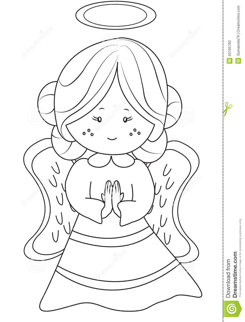 angel coloring page stock illustration image 50165760