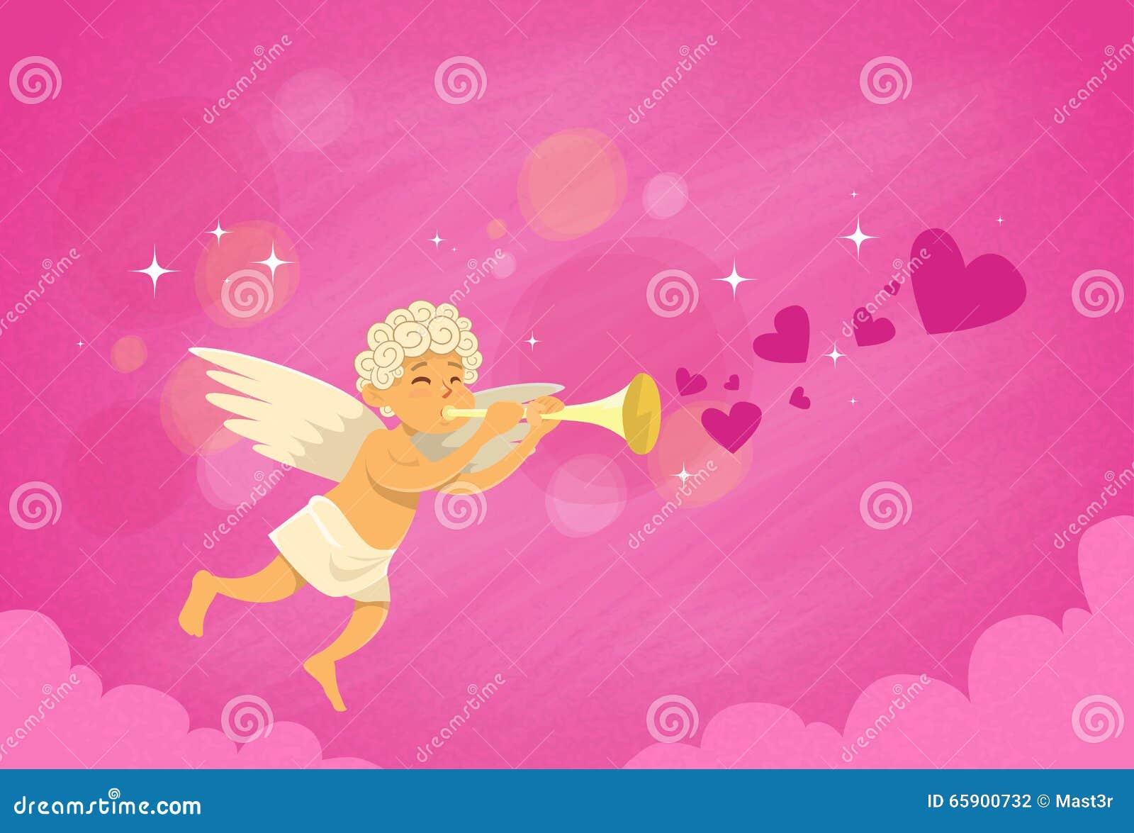 Angel Cupid Holding Flute Saint Valentine Holiday de la tarjeta del día de San Valentín