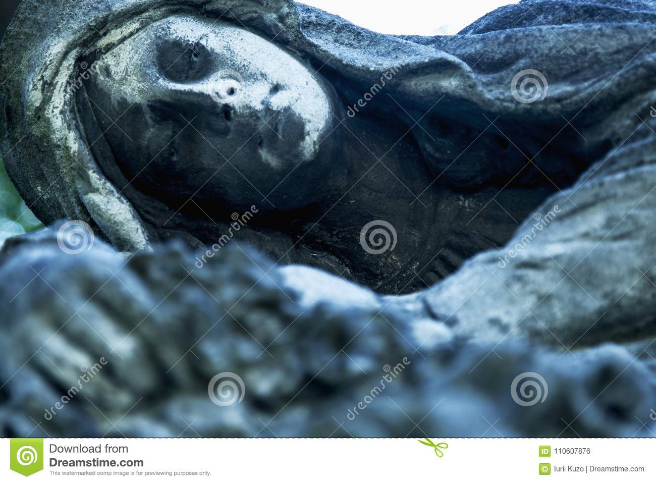 Angel Of Death As A Symbol Of The End Of Life  Ancient Statue  Stock