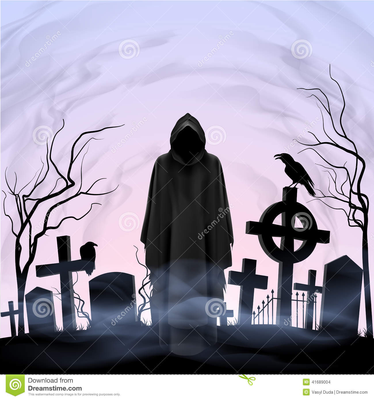 Angel Of Death In The Cemetery Stock Vector Illustration Of Fear