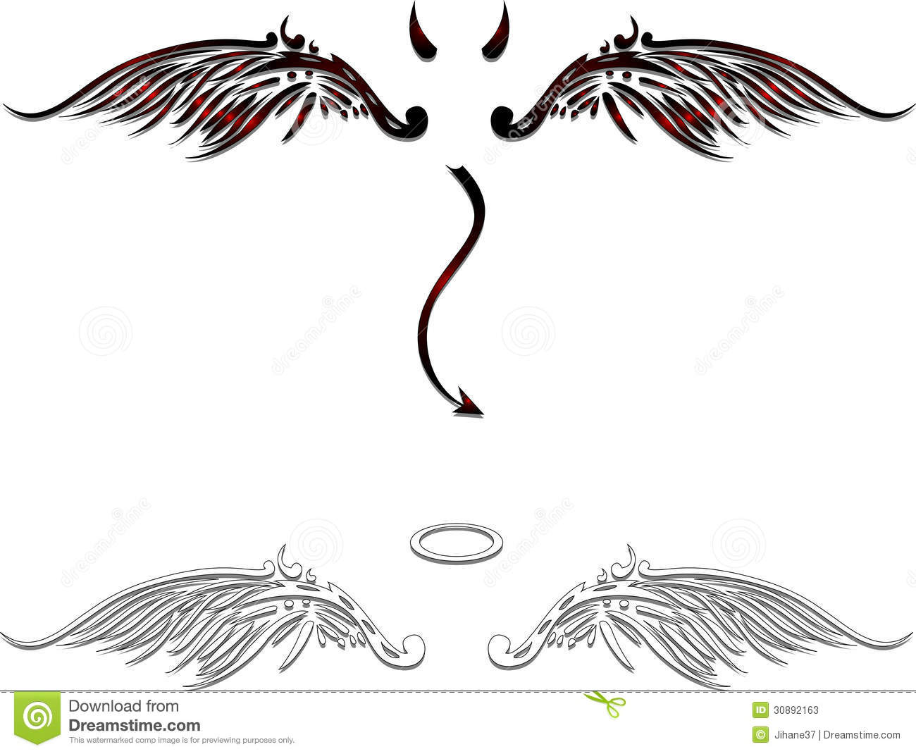 Angel and demon wings stock illustration. Image of devil