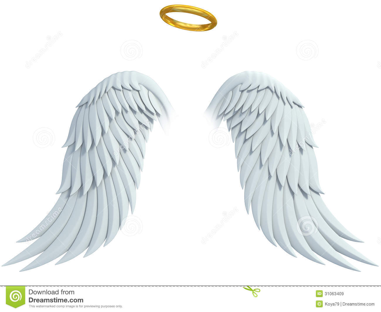 Angel design elements - wings and golden halo isolated on the white ...