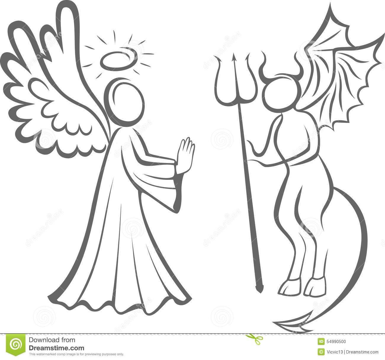 good and evil angel Yes, there are evil angels where did they come from recall that god created angels with the gift of free will shortly after the first man and woman, adam and eve, were created, a perfect spirit creature abused his freedom of choice and instigated rebellion on earth.