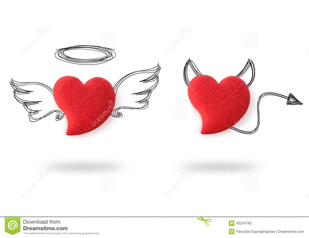 Angel And Devil Hearts Stock Illustration Image Of Black