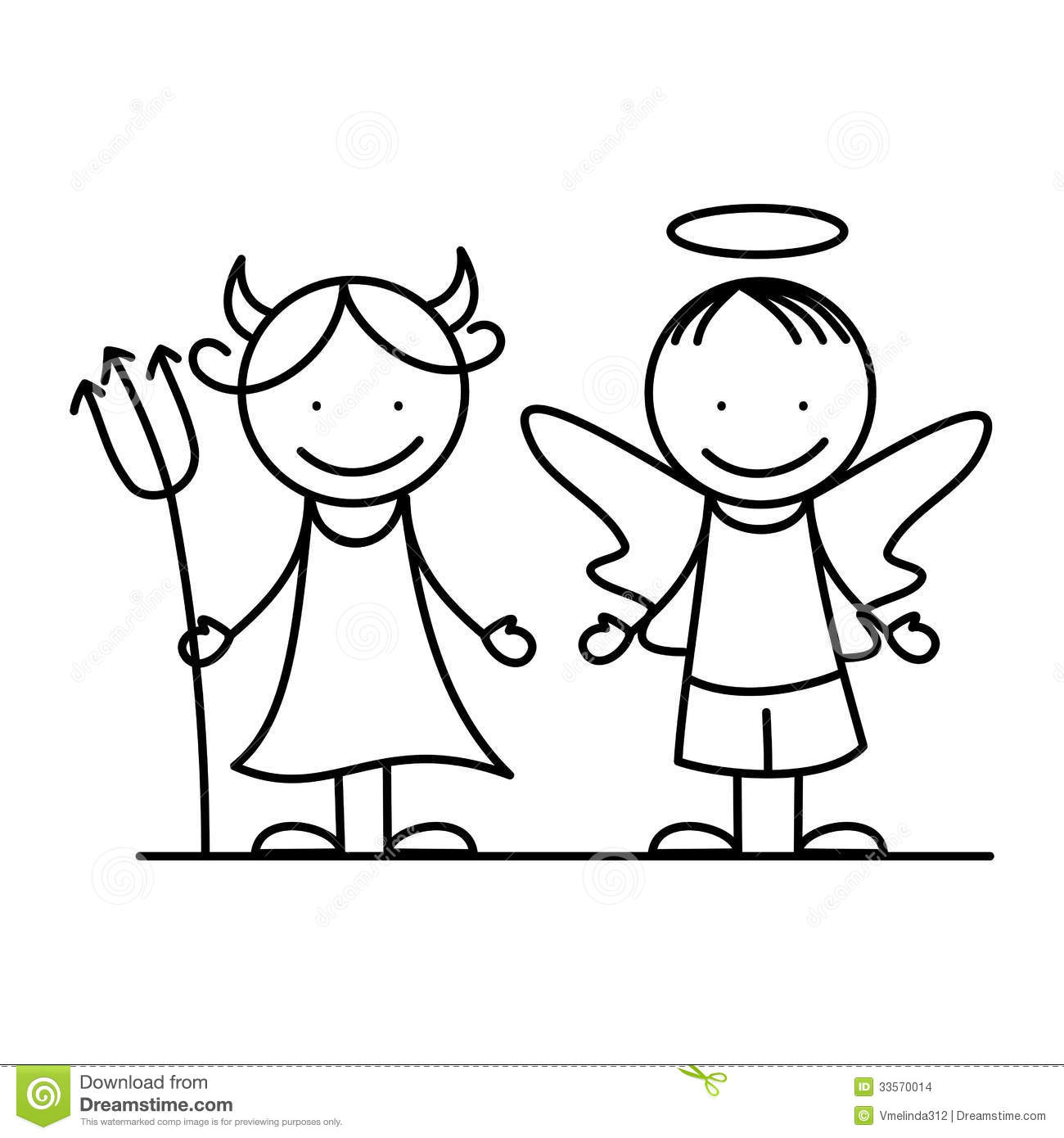 Angel and devil II. stock vector. Illustration of hell ...