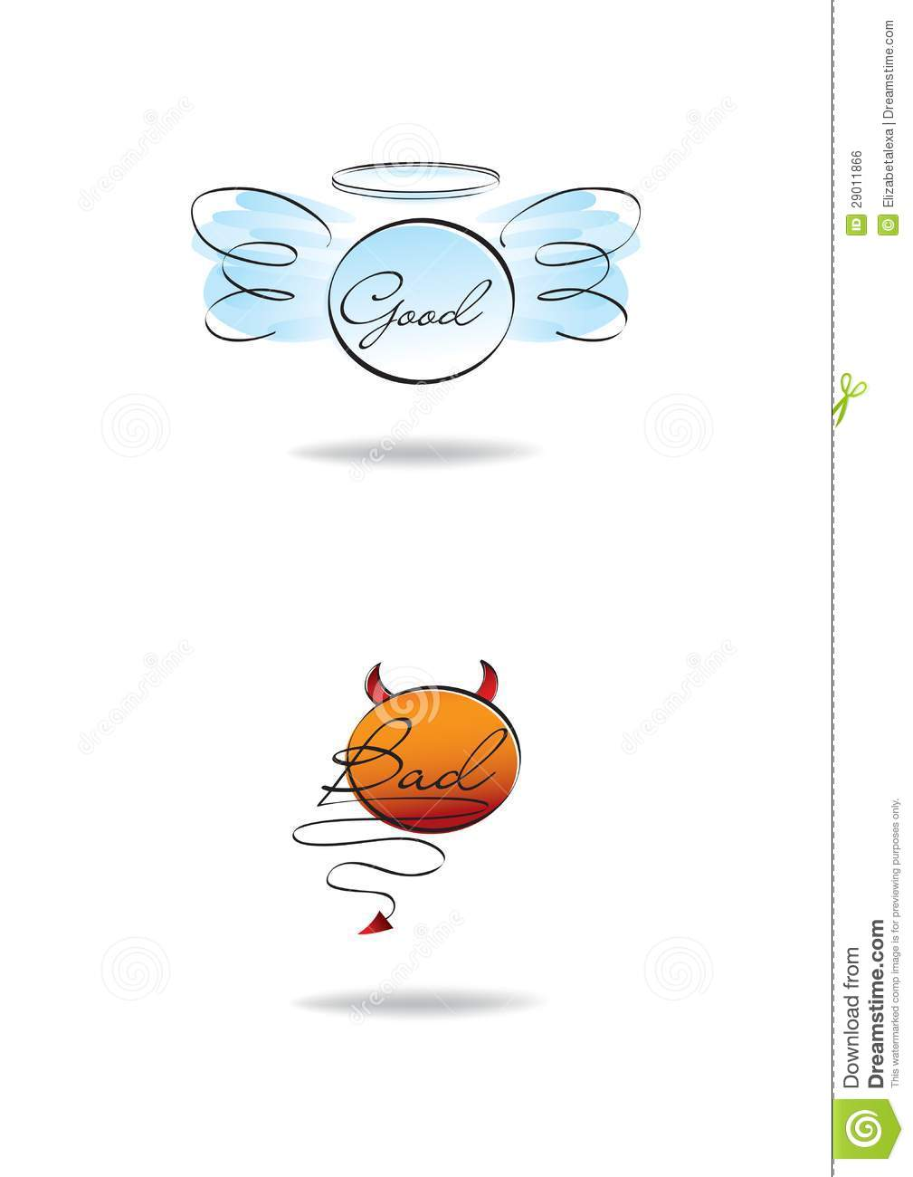 Render Angel And Demon Symbol Bad Good