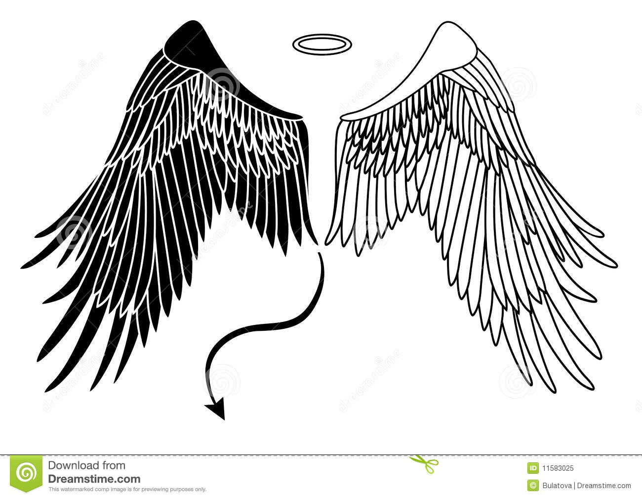 Angel And Devil Wings Stock Vector. Illustration Of