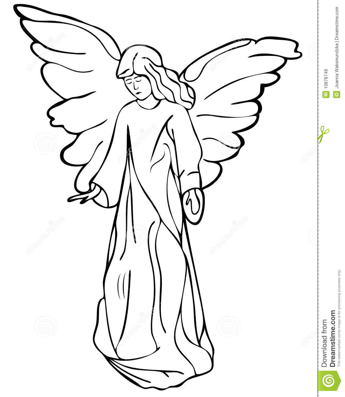 Angel drawing stock vector illustration of wings angel for Angel clipart