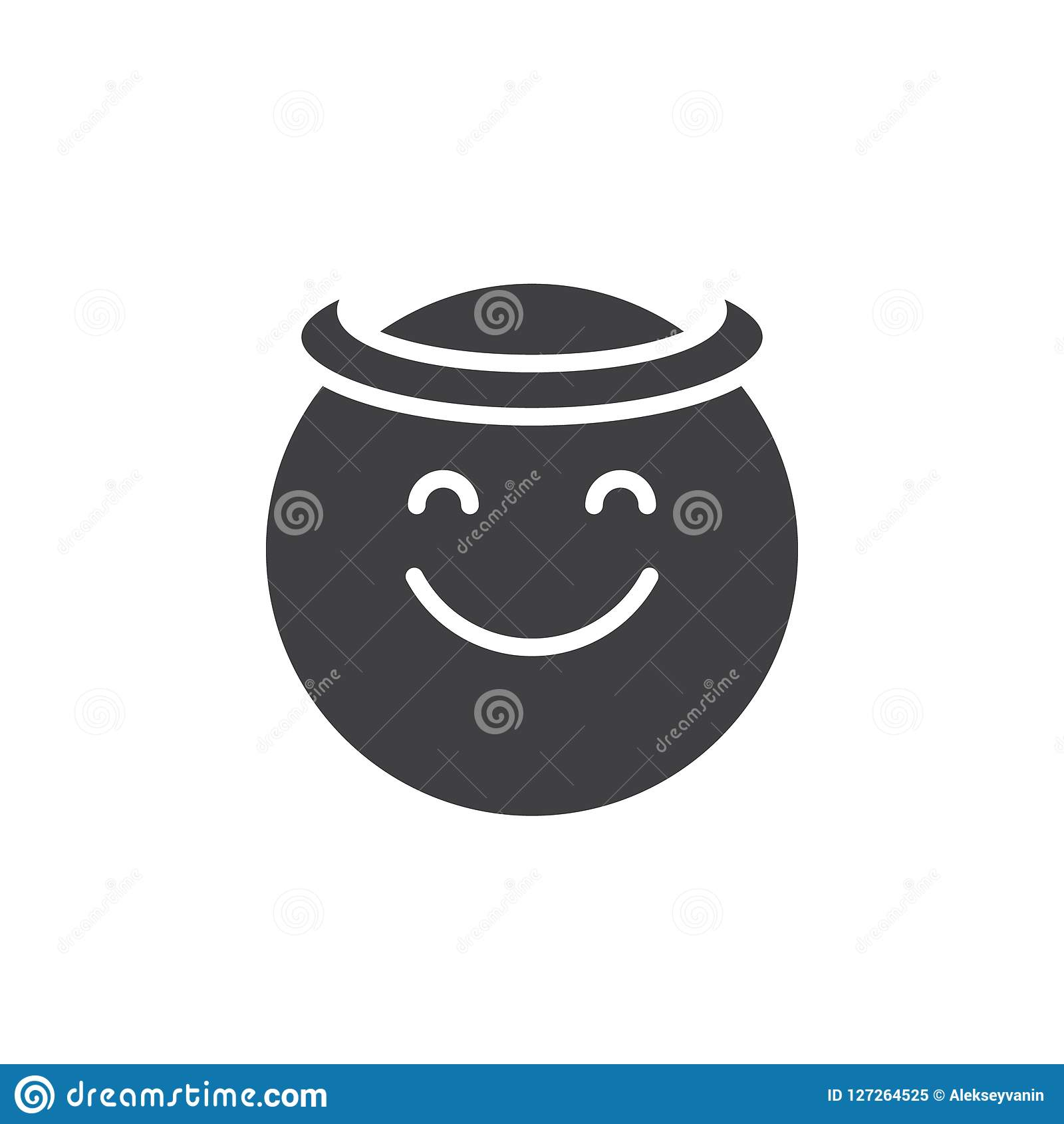Angel Face Emoticon Vector Icon Stock Vector Illustration
