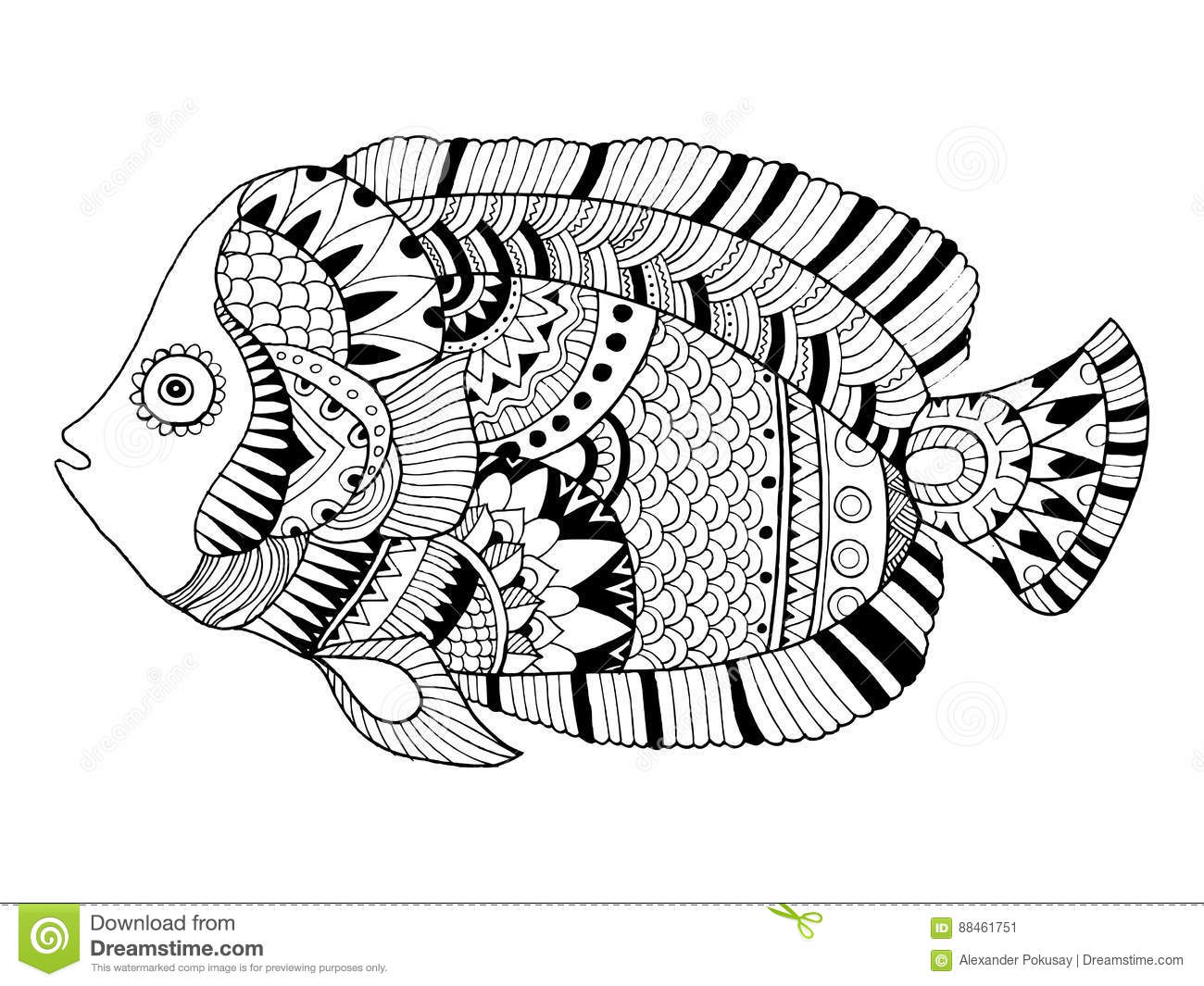Download Angel Fish Coloring Book Vector Illustration Stock