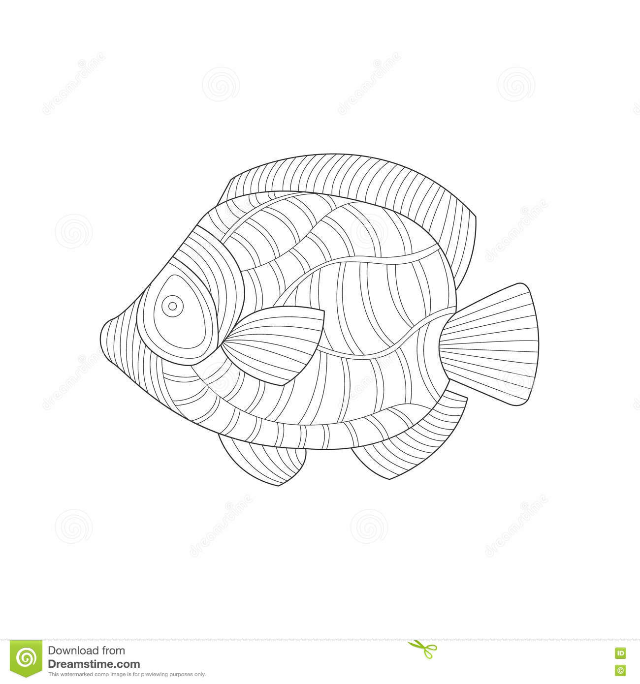 Download Angel Fish Sea Underwater Nature Adult Black And White Zentangle Coloring Book Illustration Stock Vector