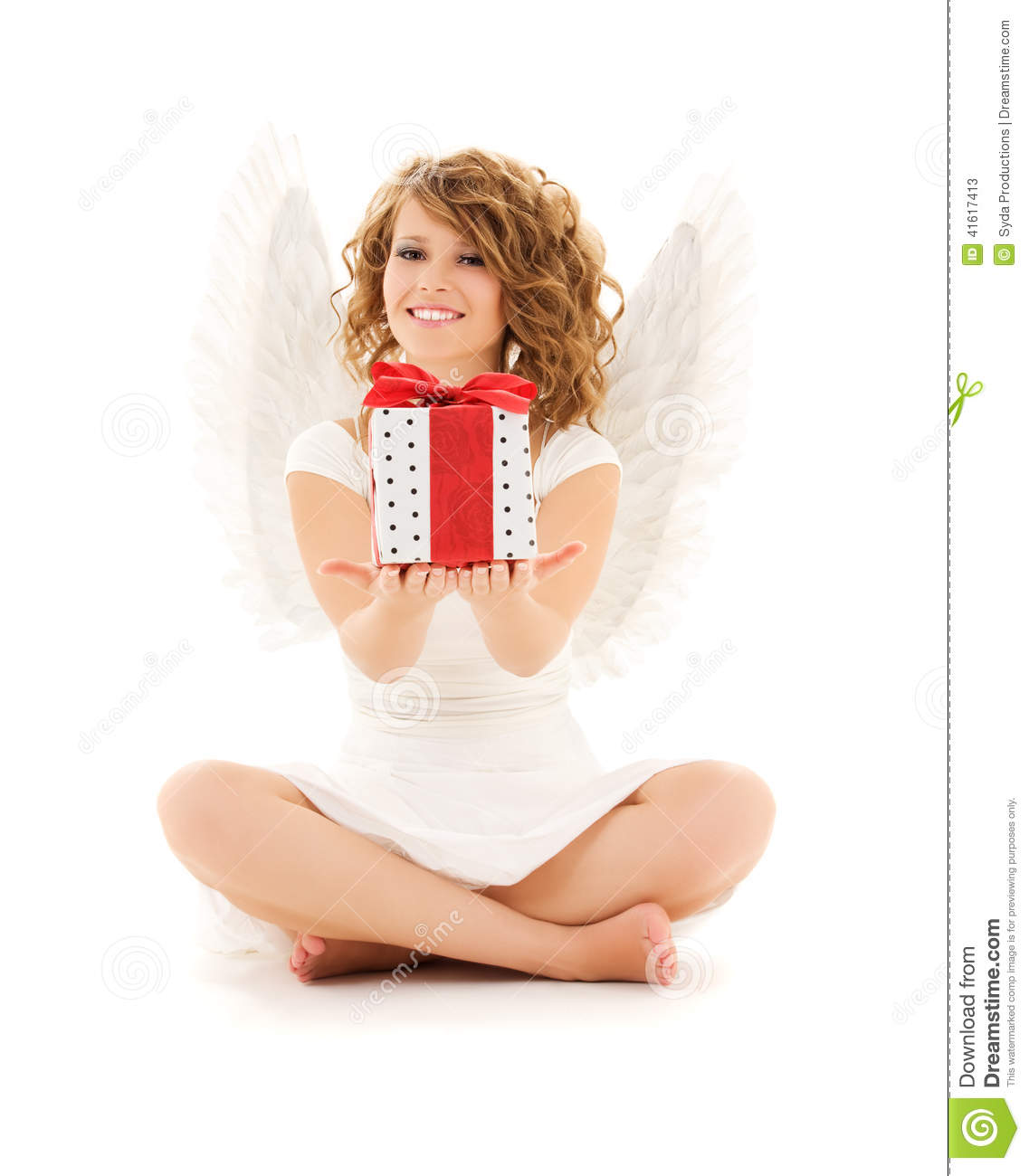 Download Angel with gift stock image. Image of happy, lady, holiday - 41617413