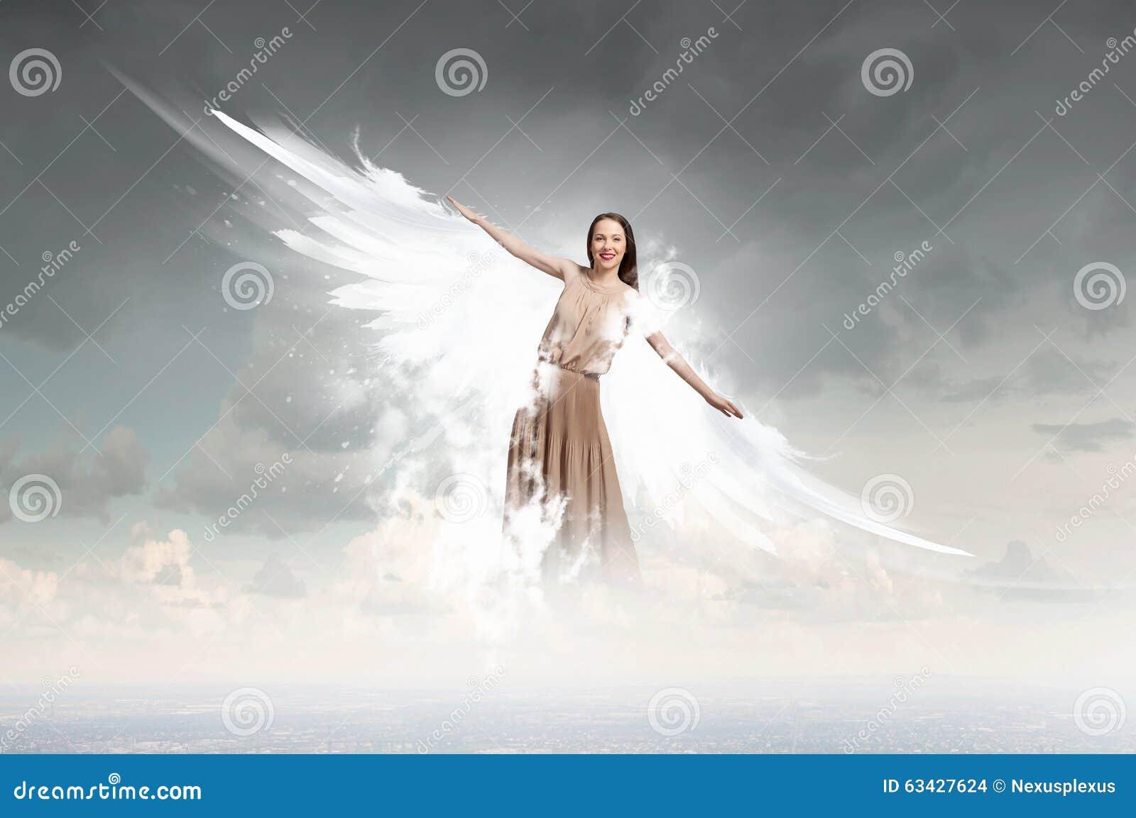 Angel Girl Flying High Stock Photo. Image Of Angelic ...