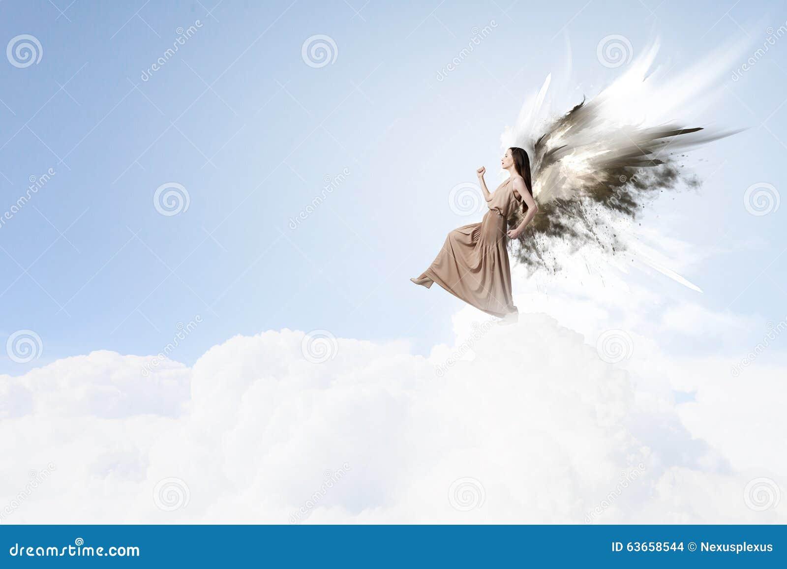 Angel Girl Flying High Stock Photo - Image: 63658544
