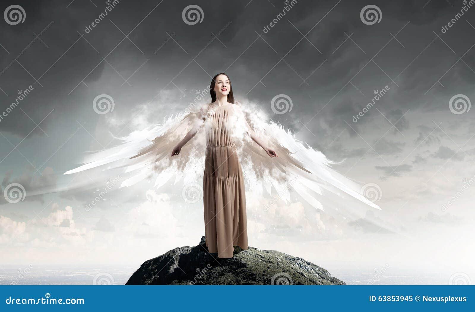 Angel Girl Flying High Stock Photo - Image: 63853945