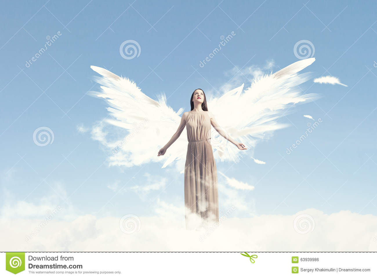 Angel Girl Flying High Stock Photo. Image Of Fashion ...