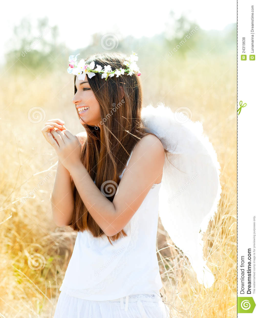 Angel Girl In Golden Field With White Wings Royalty Free