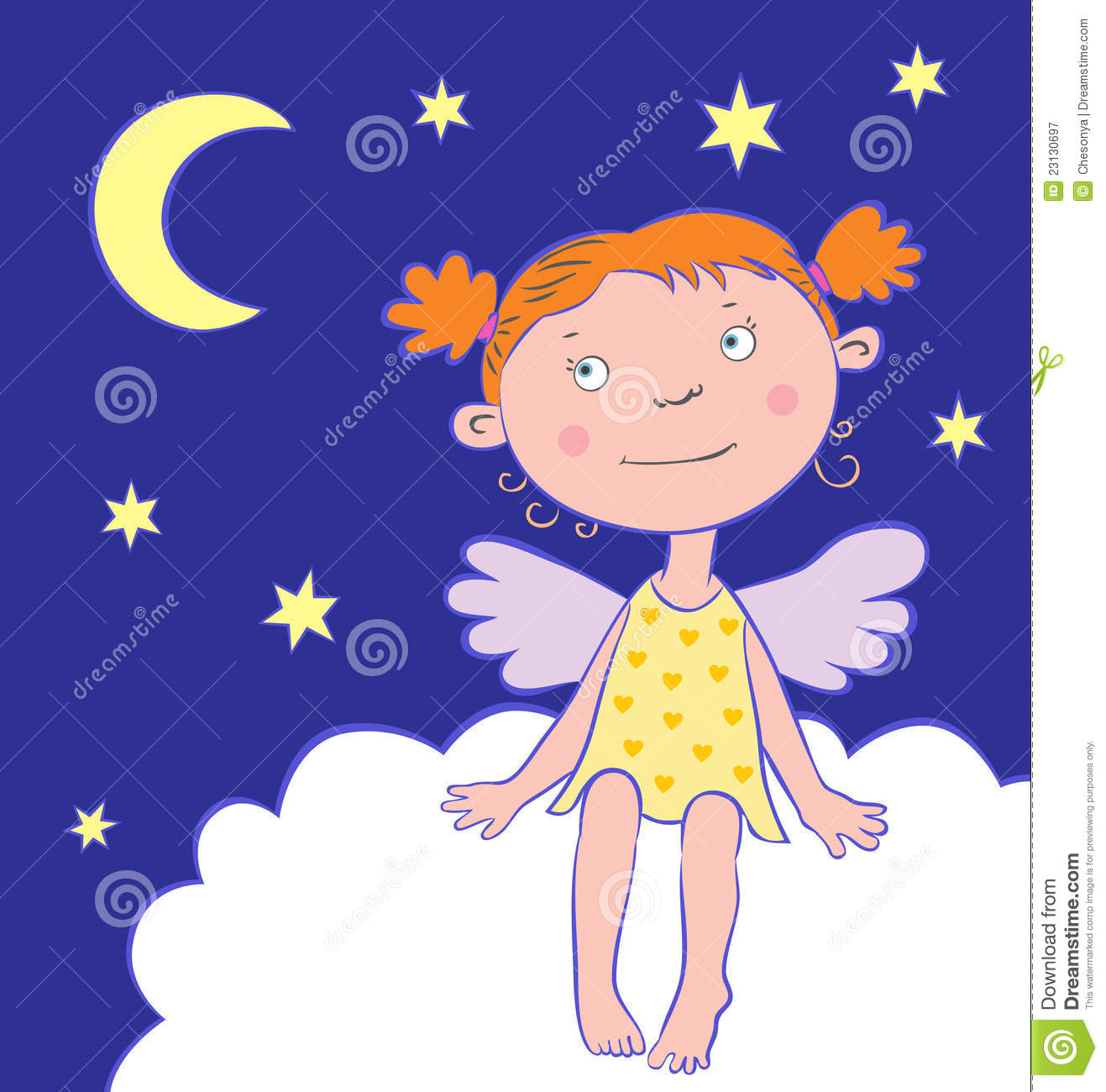 Kids at night with moon royalty free stock photography image - Royalty Free Stock Photo Angel Card Girl Moon Night