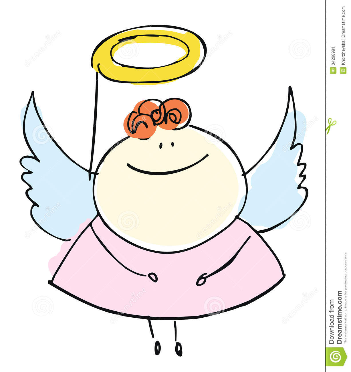 Angel Girl Sweetie Child Happy Smiling With Wings - Cartoon Peop Stock ...
