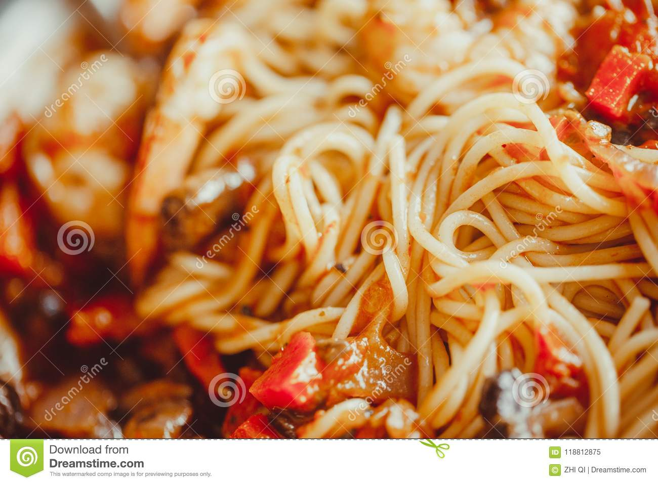 Angel Hair Pasta With Tomato Sauce Garlic And Shrimp Stock Image