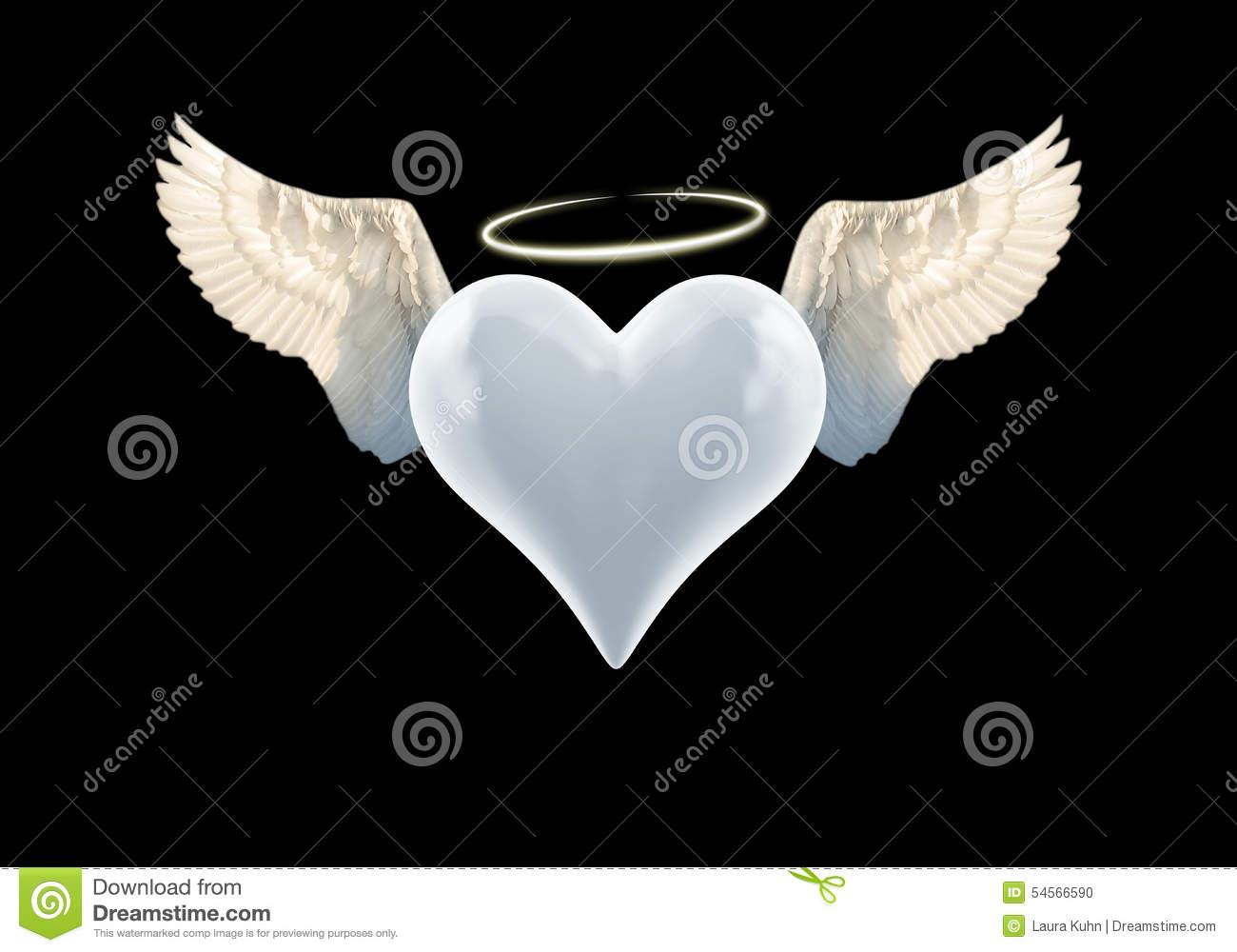 Angel Heart stock photo. Illustration of afterlife ... Angel Wings Heart Halo