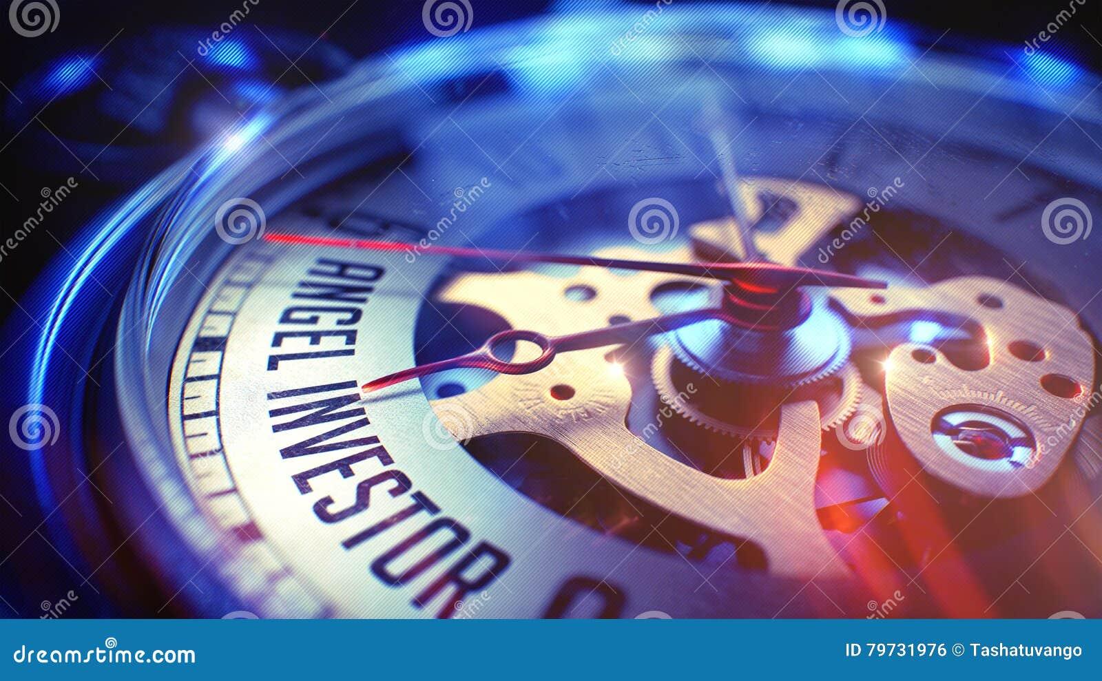 Angel Investor - fraseología en el reloj del vintage ilustración 3D
