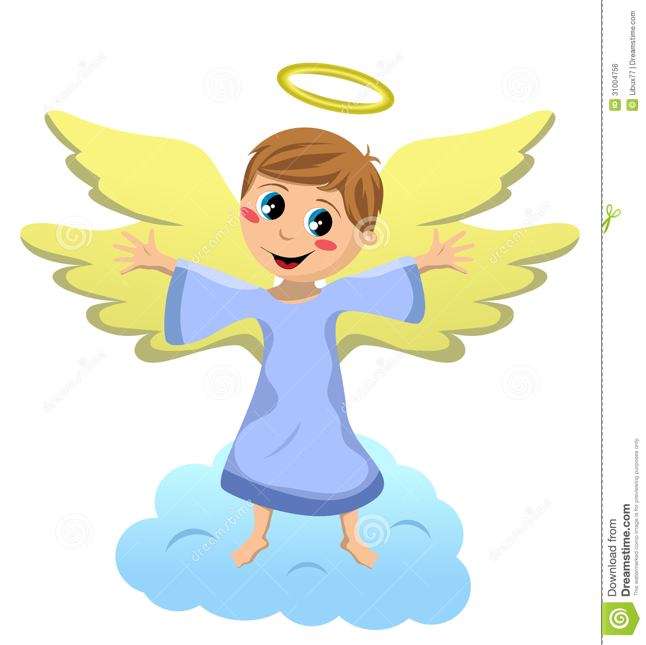 Christmas angel kid standing on a cloud with open arms isolated on ...